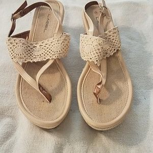 Wedge heel tan colored thong sandals